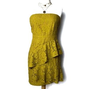 Missguided Strapless Yellow Chartreuse Dress Sz 6